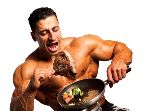 Muscular man eating meat only