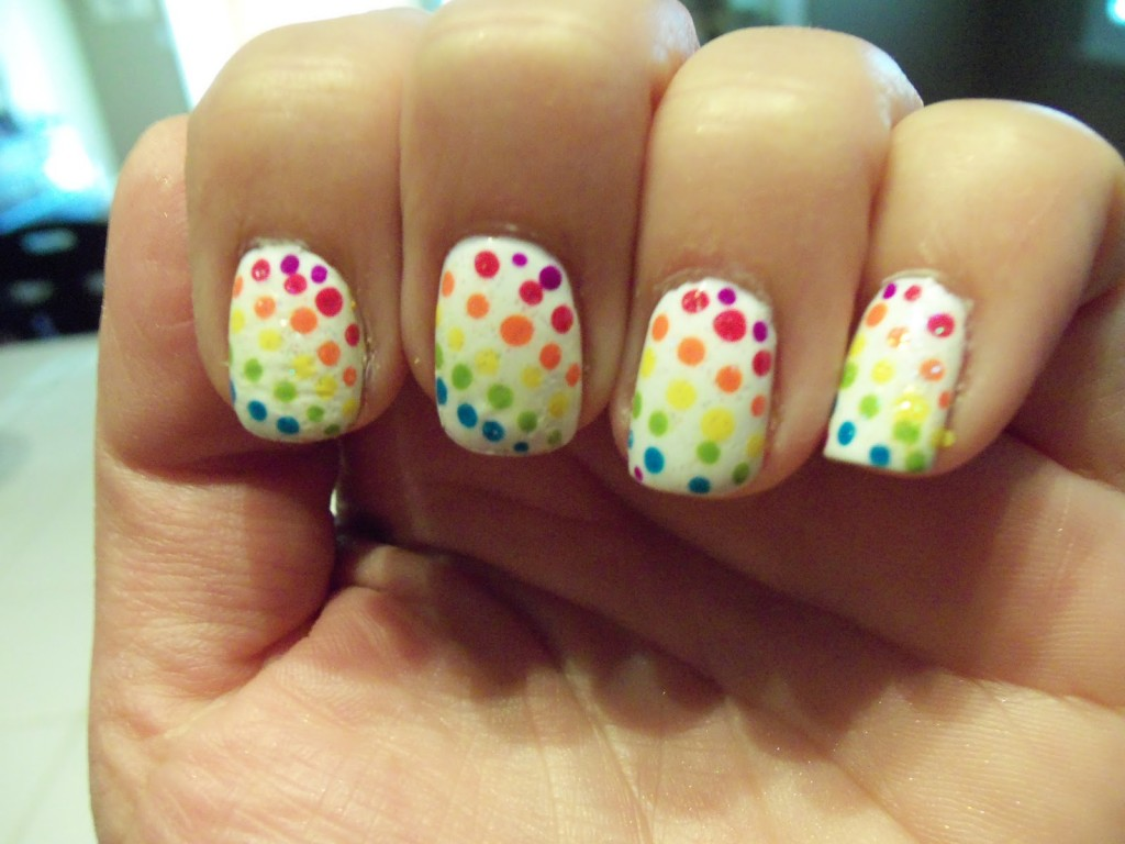 differnent colours and white polka dots