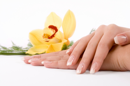 healthy nails with a flower