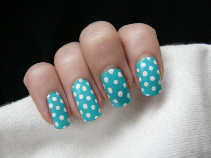 teal and white polka dots